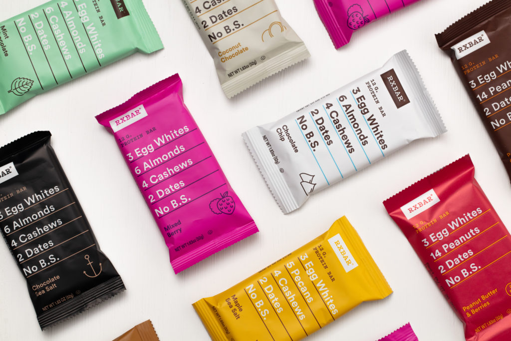 RXBars use a clean color palette and shows ingredients on snack bar packaging design.
