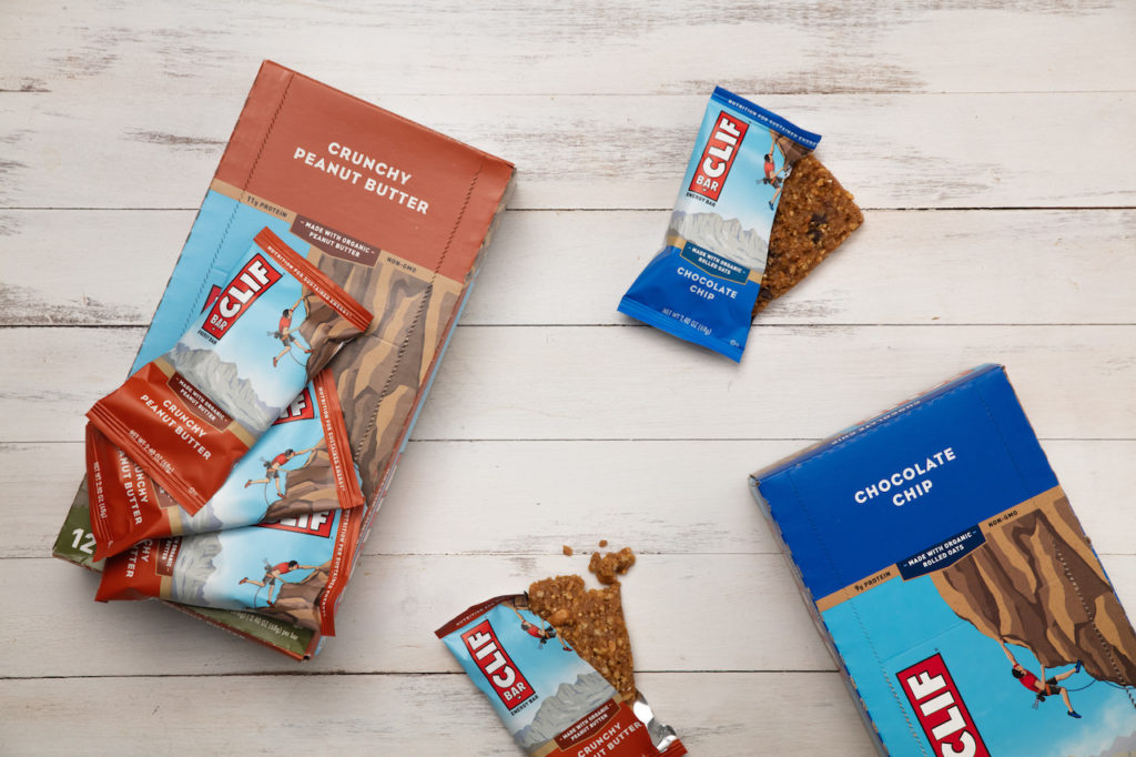 CLIF bars use storytelling to make engaging snack bar packaging design.