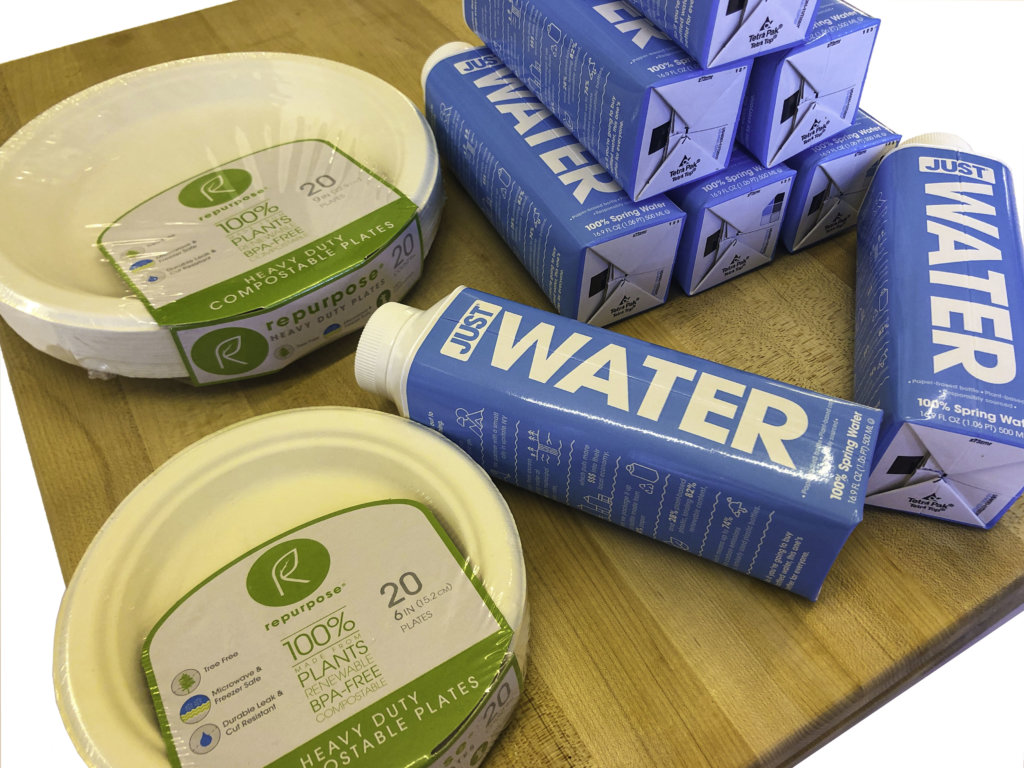 Sustainable packaging such as cardboard water bottles are one of the rising food trends.
