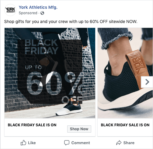 An ad that we used in the YORK Athletics Mfg. Black Friday e-commerce campaign. Use for e-commerce tips.